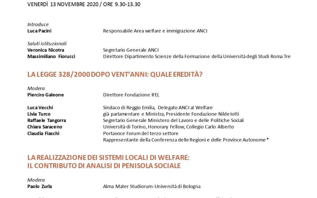 """Convegno nazionale """"I vent'anni dalla legge 328/2000 nella penisola: le trasformazioni del welfare locale"""""""