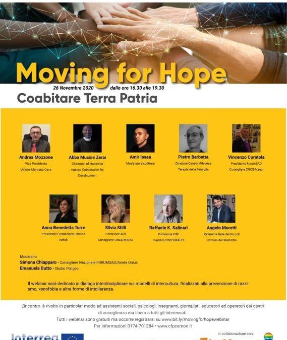 """""""Coabitare Terra Patria"""" Ultimo appuntamento di """"Moving for hope"""" ciclo di Webinar su migrazioni e futuro"""